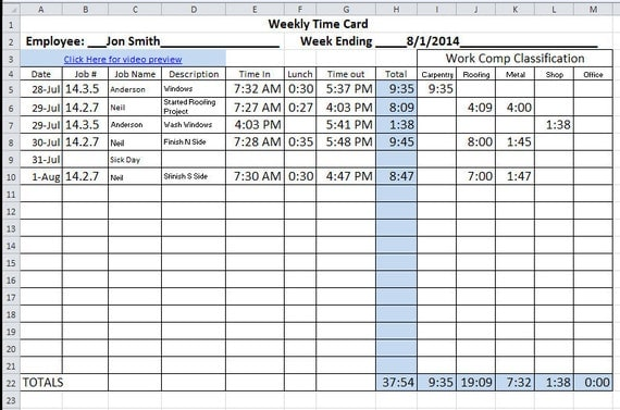 monthly time card calculator