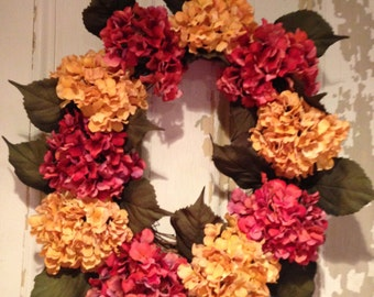 Front Door, Wreath, Hydrangeas, Porch decoration,
