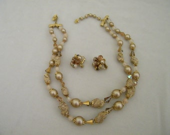 Vintage Vendome Crystal Pearl  Glass Double Strand Necklace Earring Set
