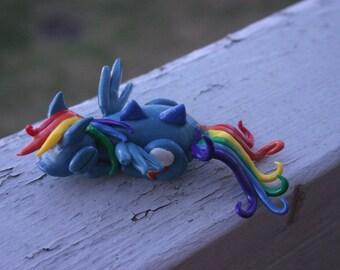 Handmade Polymer Clay Sleeping Dragon Rainbow Dash from My Little Pony: Friendship is Magic