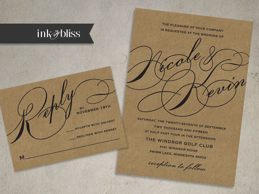 Flourish Wedding Invitations: Kraft Wedding Invitation And Reply Card