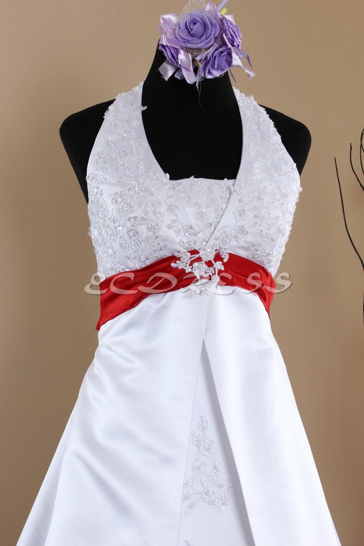 Halter Wedding Dress, color Wedding Dress, V neck Wedding Bridal Dress with Waistband