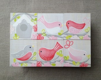 Bird Blocks - Coral/Pink, Personalised Room Decor, Girls Wooden Blocks, Beautiful Gift for Newborn, Painted Birds, Timber Blocks, Bespoke
