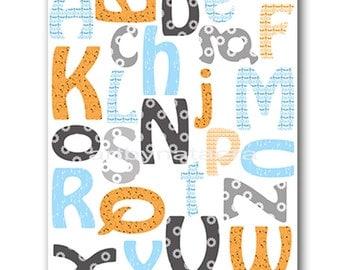 Digital Alphabet Nursery Art Baby Nursery Print Baby BoyNursery Decor Printable Print Digital Download Print 8x10 11X14 INSTANT DOWNLOAD