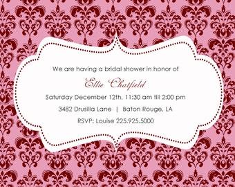 Bridal shower invitation damask print