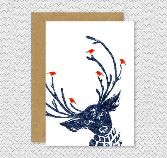 Cool christmas cards reindeer with birds dark by for Cool christmas art