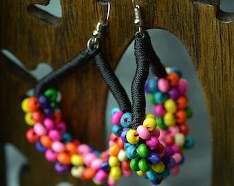 Rainbow coloured mini beads fan Earring