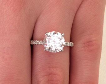 2.52 CT Round cut d/si1 Diamond Solitaire Engagement Rring 14k White Gold