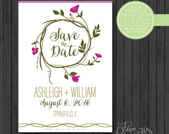 Printable 5x7 Vine with Leaves and Flowers Wedding Customizable Save the Date