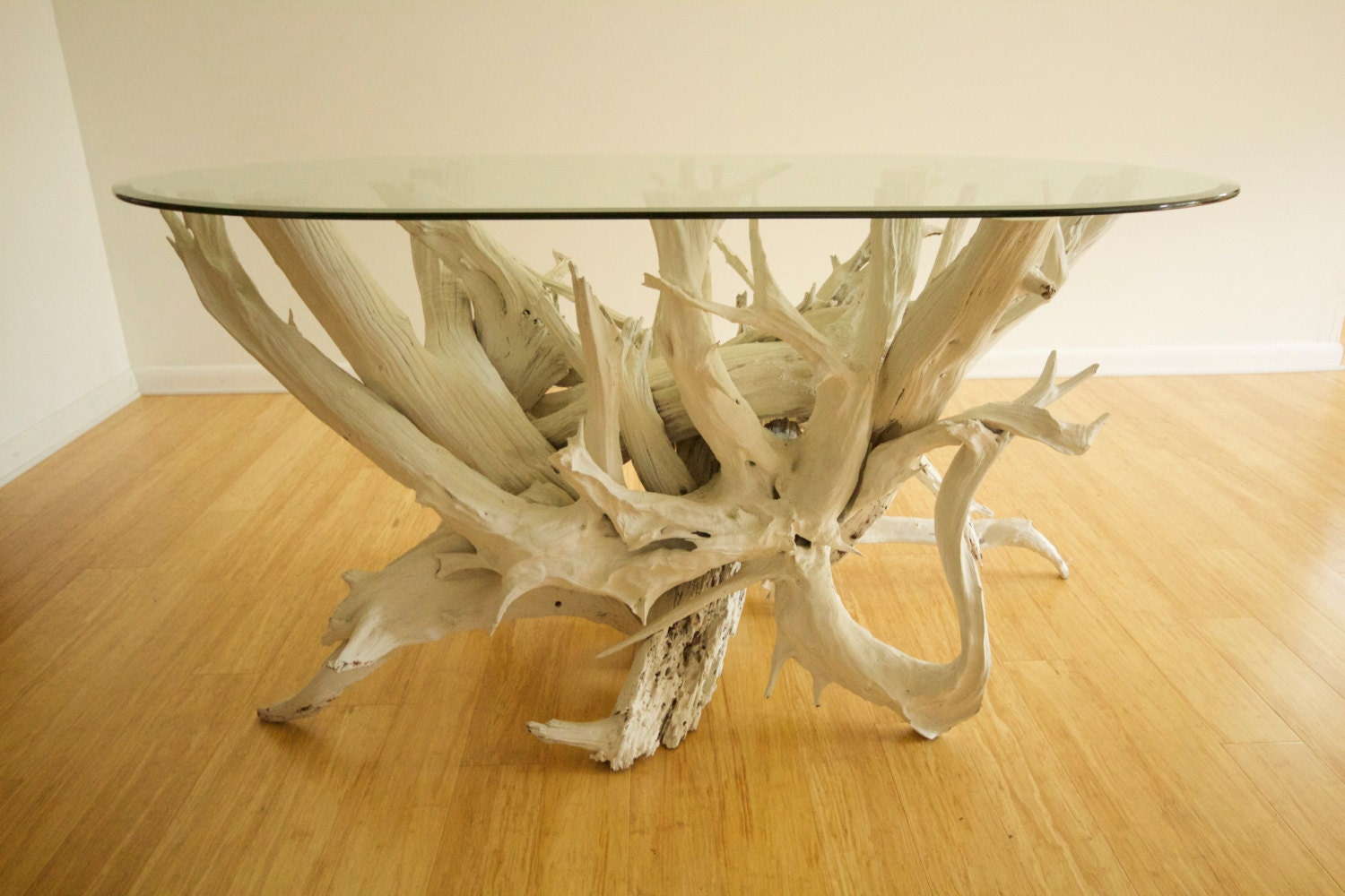 large driftwood dining table handmade from reclaimed