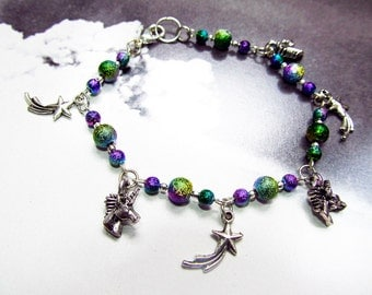 Rainbow Unicorn and Shooting Stars Silver Plated Nickle Free Charm Bracelet