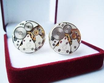Steampunk Cufflinks 18mm (0,7 inch) silver tone