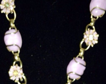 Pink glazed plastic 1970's necklace