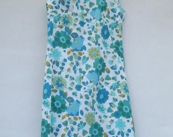 Blue/White Floral Shift Dress - UK 14