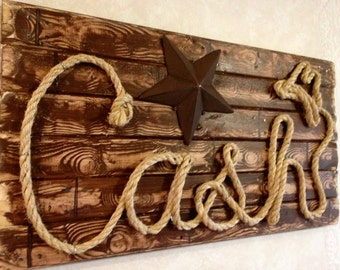 "27"" RUSTIC COUNTRY Rope Name Sign ~Cowboy Life ~Outdoorsman Gift ~ Personalized Wooden Name Plaque ~Western Style For Him ~Cabin Decor ~CASH"
