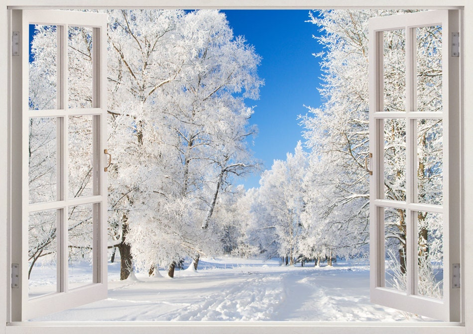 Winter park in snow wall decals 3d window snow park wall for Winter wall murals