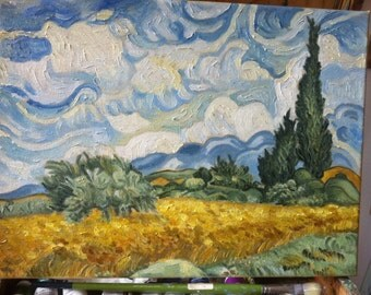 Copy, Vincent van Gogh, wheat field with Cypress