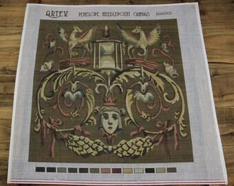 Vintage French Royal Aubusson Design Pegasus & Medusa Needlepoint Canvas