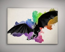 Toothless  How To Train Your Dragon Watercolor Print Poster 11.70 x 16.50 A3 No447