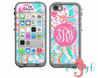 Monogrammed Lilly Pulitzer Inspired LifeProof Case Skin Decal - iPhone 6, iPhone 6 Plus, iPhone 4/4s, iPhone 5/5s or iPhone 5c