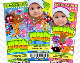Moshi Monster invitation, Custom Moshi Monster Birthday Party, Ticket Invite