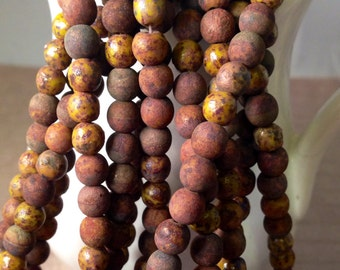 PICASSO SUNSET 6mm Round Beads - Red Mustard Yellow Amber - Opaque Olivine Stone Picasso Czech Glass - Qty 50 (CZ-0214)