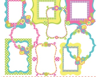 rainbow pattern frames yellow pink green blue printable digital clip art set