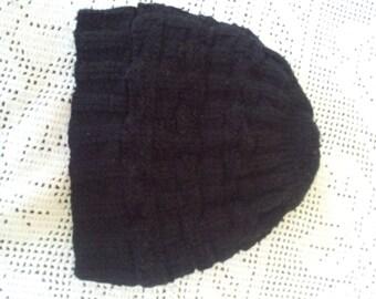 Black Knitted Design Men's Hat