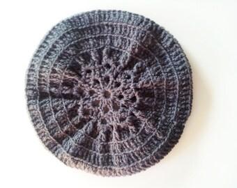 Crochet Slouchy Hat, Crochet Beret, Gray Women's Hat With Center Designed Flower
