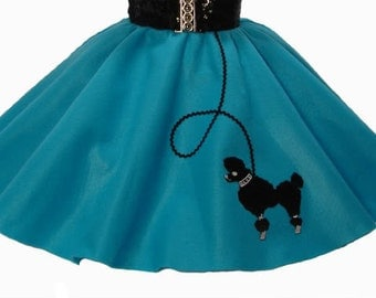 Teal 50's POODLE SKIRT for TODDLER 2T 3T 4T