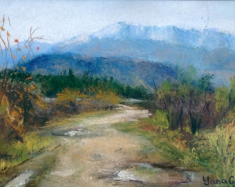 After the rain. Original pastel drawing/painting by Yana Golikova. Landscape pastel. 5*7