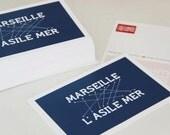 Postcard anagram Marseille/asylum sea.