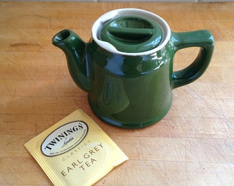 Vintage Small Teapot 1940s-50s Chefsware restaurant china in green