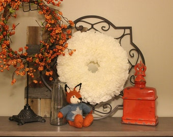 "16"" White Coffee Filter Wreath"