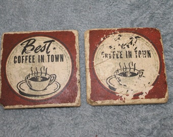 "Two Vintage Coasters, Heavy Duty, They both Say ""Best Coffee in Town"" With Cup of Steaming Coffee picture on them, Vintage Condition"