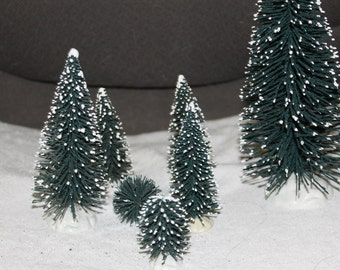 Decorative Christmas Trees, 7 in All with Snow on the Tips