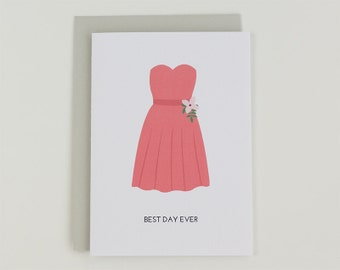 Best day ever - peach wedding bridesmaid dress illustrated greeting card