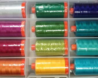 Aurifil SPARKLE Thread Collection by Sarah Vedeler - 12 lg spools 50 wt 100% Mako Cotton Thread