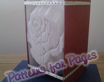 Book folding pattern for a ROSE FLOWER HEAD