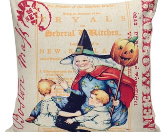 Pillow Cushion Halloween Orange Vintage Pumpkin Jack O Lantern Cotton #RQ0145 RavenQuoth All Hallow's Eve Home Decor