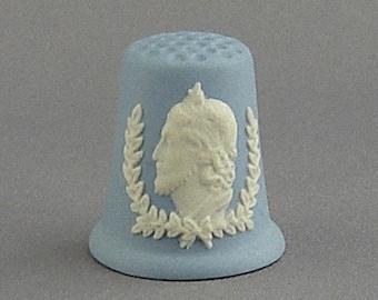 Wedgwood Thimble - King Edward II, blue jasperware