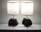 """Pair of Sparkly Chalcopyrite Mineral Lamps """"Thelma"""" and """"Louise""""//Rock Crystal Lamp//Gemstone Lamp//Geode Lamps"""
