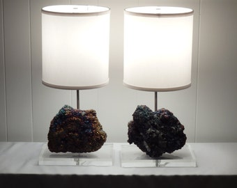 """Pair of Sparkly Chalcopyrite Crystal Table Lamps """"Thelma"""" and """"Louise""""//Rock Crystal Lamp//Gemstone Lamp//Mineral Lamp//Geode Lamp"""