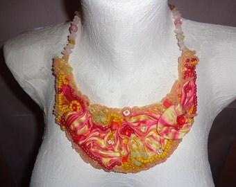 "Shibori ribbon Necklace ,,Yellow"""""