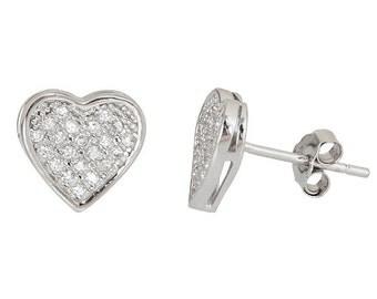 Heart Shape .925 Sterling Silver Micro Pave CZ Earrings