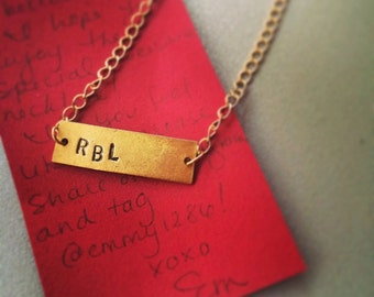 personalized hand-stamped initial necklace