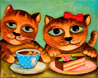 "Print on Canvas "" Two Cats "" 18x24 cm"