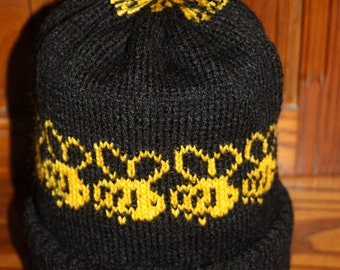 Bumble Bee Design Hand Made Knitted Bobble Hat or Choose a Beanie Hat or Slouch Hat, Acrylic Winter Novelty Hat