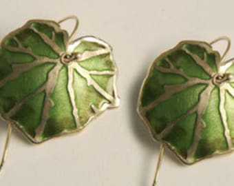Enamel Earrings , Silver & Enamel Earrings , Green Earrings , Begonia Leaf Earrings , Botanical Jewelry , nature Jewelry .