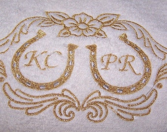 Personalised embroidered Horse shoes and Initails  bath towel (100% cotton)